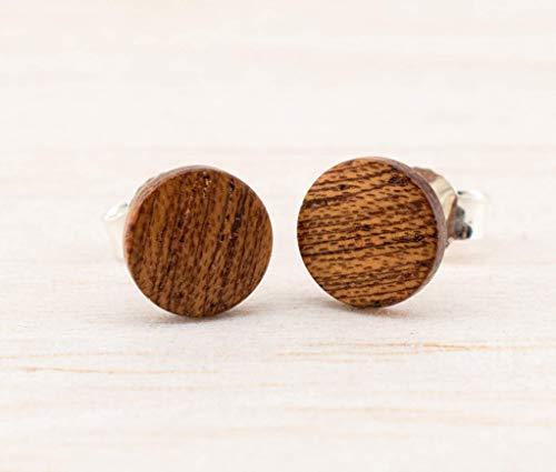 Holz-Ohrringe 8mm Mahagoni Recycling Schmuck, Holzschmuck für Damen und Männer geeignet, Holz-Ohrstecker Öko Ohrringe Stecker handmade geburtstags-geschenk freund-in