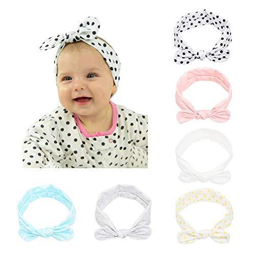 CANSHOW 6 Stück Baby Stirnbänder Mädchen weich Baumwolle Haarband Stirnband Madchen Turban Babygeschenke …
