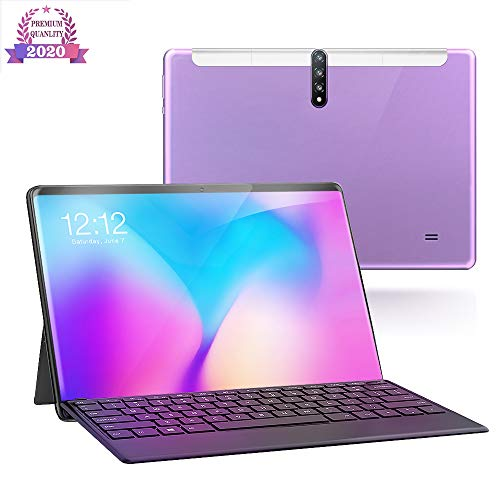 Tablet 10 Inch, Android 9.0 4G / 5G Tabletten PC met dual SIM-kaart slots en camera, 32GB opslag, quad-core processor, Google Certified, Bluetooth, Wi-Fi, GPS,Purple