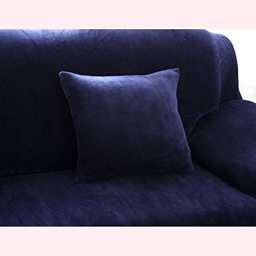 Getmorebeauty - Funda para sofá, elástica, felpa suave y franela, ajuste sencillo, color liso, tela, azul marino, 18'/Pillowcase - no insert