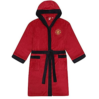 Manchester United FC Official Gift Mens Fleece Dressing Gown Robe Red Small