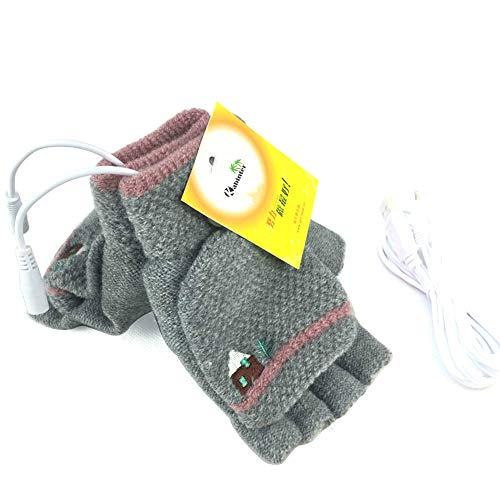 Women's & Men's USB Heated Gloves Mitten Winter Hands Warm Laptop Gloves, Knitting Hands Full & Half Heated Fingerless Heating Warmer Washable Design (Gray)