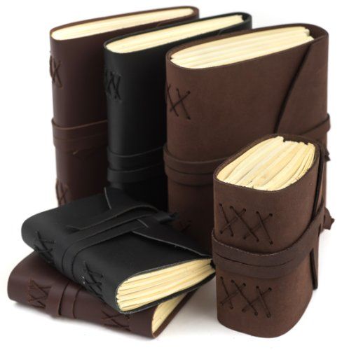 """INDIARY Luxury Wild Leather Bound Journal 100% Cotton Handcrafted Paper 5x4"""" - WILD A6 - Brown Photo #7"""