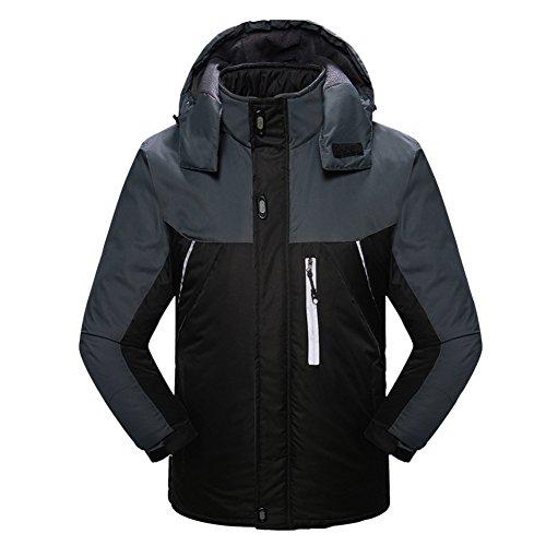 Libertepe Sport Manteau Jacket Tops Blouson Résistant Coupe-Vent Pull Waterproof pour Ski Alpinisme Noir FR54-56(tag size3XL)