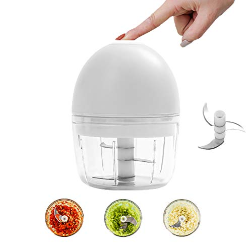 Electric Mini ChopperFohuas High Power Small Food Slicer Dicer Processor 200ml 1 CupSeasoning Spice Cutter Blender For GarlicchiliFruitsPestoVegetablesOnionsPepperGingerSaladWhite