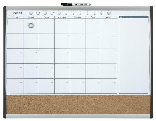 REXEL 1903813 - Combo organizador mensual magnético + tablero corcho 585x430 mm, Gris y negro