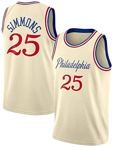 llp Ben Simmons Baloncesto Jersey, Philadelphia Jersey Camiseta, 76ers # 25 Gimnasio Retro Transpirable Secado rápido Chaleco Deportivo, Tejido Bordado, Limpieza repetible, absorción de Sudor