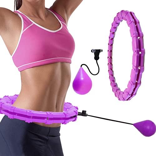 Assletes Hula Hoop inteligente con peso para ejercicios de niños, 24 secciones desmontable y tamaño ajustable de fitness, aro de hoola 2 en 1 para masaje de abdomen, aro de Hula...