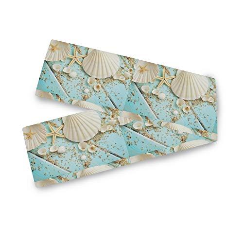 TropicalLife Camino de mesa BGIFT de madera con diseño de concha de mar, 33 x 229 cm, poliéster largo, para bodas, fiestas, cocinas, comedores, centros de mesa