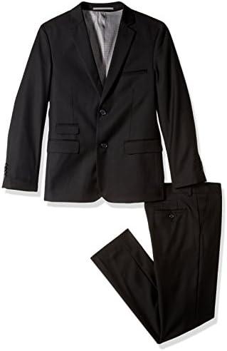 Isaac Mizrahi Boys Big Solid 2pc Slim Fit Wool Suit Black 12 product image