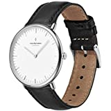 Nordgreen Native Scandinavian Silver Unisex Analog 36mm Watch with Black Leather Strap 10031