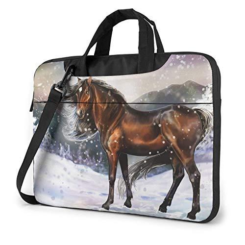 Winter Horse Laptop Shoulder Bag Sleeve Case, Shockproof Laptop Briefcase Computer Bag