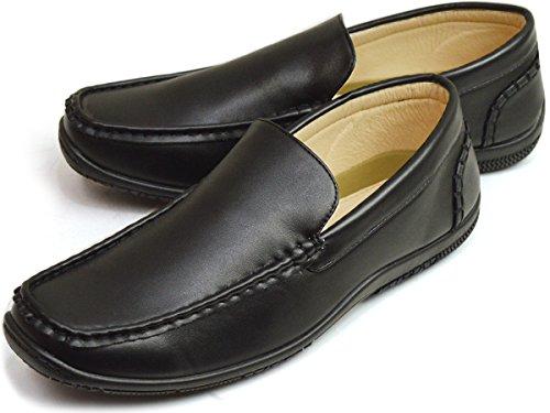 [リチャードスミス] ドライビングシューズ スリッポン メンズ ローファー スニーカー シューズ カジュアル 靴 27cm Black 黒色 ブラック