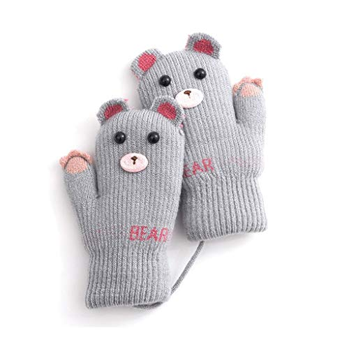 ZXC Home Handschuhe Kinder Padded Rohbaumwolle elastische gestrickte Plus Samt warmen Nette Form Handschuhe, Grau