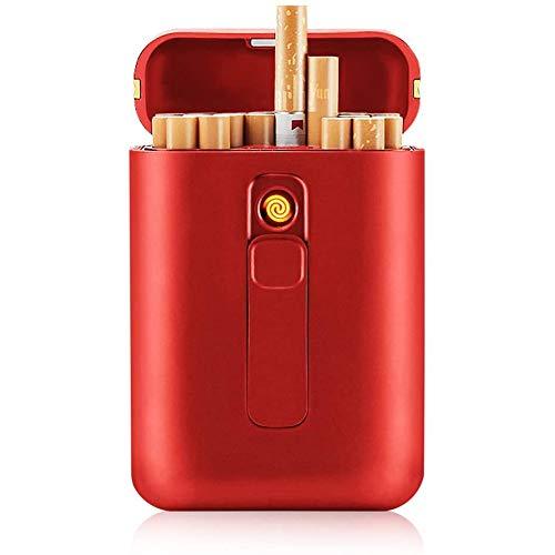 Pitillera De Aleación De Aluminio,Caja Cigarrillos con USB Encendedor Prueba De Viento Electrico Flameless Cigarrillos Caja para Hombres Resistente Al Agua Bolsillo Cigarrillos Caja