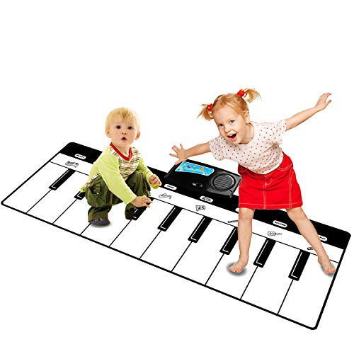 Rangebow Piano Musical Mat, Kids Touch Play Instrumentos de música electrónicos Teclado de Piano Playmat para Cantar Canciones Baile Divertido Aprendizaje para educación temprana Blanco 36x110cm