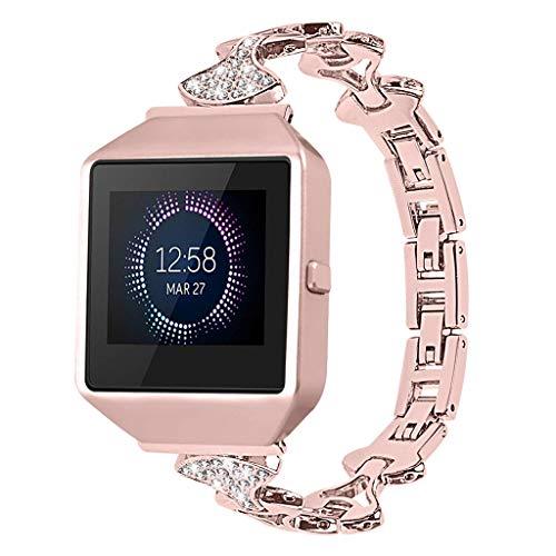 kdjsic Correa de Reloj de Acero Inoxidable para Fitbit Blaze 2 Correa de Diamante de Repuesto de Metal con Pulsera de Diamantes de imitación Correa de Reloj