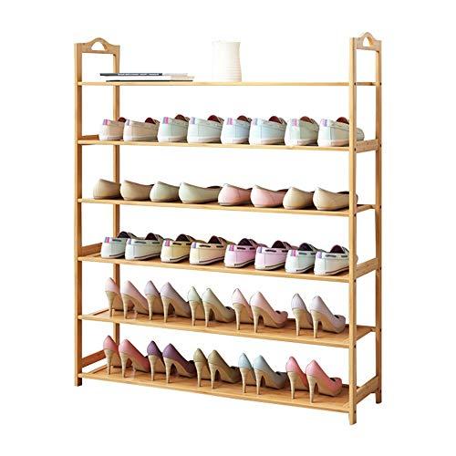 Subobo Zapatero de madera con 3 – 6 niveles, organizador de almacenamiento, estante vertical, puede almacenar varios pares de zapatos (tamaño: 70 x 105 cm, color: natural)