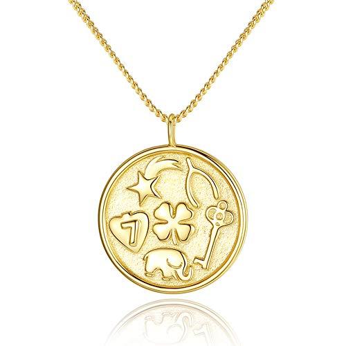 Collar con colgante de trébol de huesos de la suerte, diseño de elefante de la suerte, en oro de 14 quilates, 45,72 cm