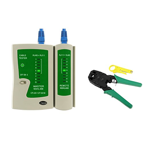 Everydaysource Compatible with RJ45 / RJ11 CAT5 Network LAN Cable Crimper Pliers Tools + Cable Tester