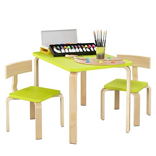 Homfa Kindersitzgruppe Kindertisch Kinderstuhl Sitzgruppe Kindermöbel aus 1x Tisch und 2 x Stühle Holz Grün