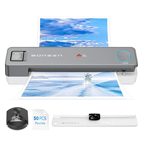 Laminator Machine, BONSEN 13 Inches Laminator with 50 Laminating Pouches, 4 in 1 Thermal Laminator with Paper Trimmer and Corner Rounder, A3 Hot Cold Lamination Machine for Home School Office (L3103)