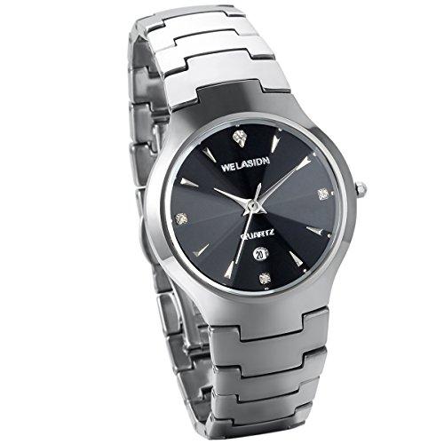 JewelryWe Herren Armbanduhr, Analog Quarz, Klassiker Luxus Kalender Business Casual Uhr mit Silber Wolfram Stahl Wolframcarbid Armband & Schwarz Runde Zifferblatt