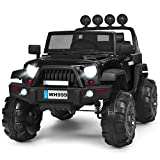 Costzon Ride on Truck, 12V Battery Powered Electric Vehicle w/ 2.4G Bluetooth Remote Control, 3 Speeds, LED Lights, Horn, MP3, Music, Double Magnetic Doors, Safety Belt, Ride on Car for Kids (Black)