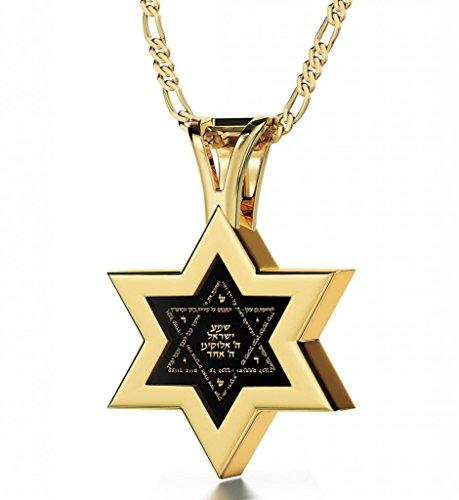 925 Sterling Silber Vergoldet Davidstern Halskette mit Schma Israel Graviert auf Hebräisch mit 24k Gold auf 10mm Schwarzem Onyx Anhänger, 50cm Kette