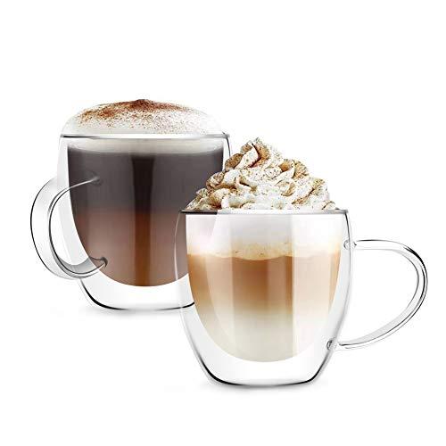 [6 unidades, 8.5 onzas] DISEÑO • MASTER-Premium doble pared aislante vidrio con asa, tazas de café o té, vidrio térmico aislado, perfecto para latte, capuchino, americano, té y bebidas.