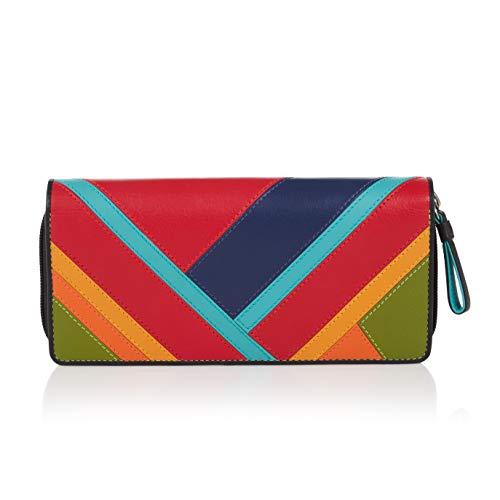 Visconti ® Leder Portemonnaie Damen RFID Schutz Geldbeutel Damen Geldbörse Bifold Mehrfarbig Portmonee in Geschenk-Box Clara (CR12)