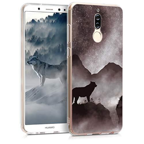 kwmobile Hülle kompatibel mit Huawei Mate 10 Lite - Handyhülle - Handy Case in Wolf Berglandschaft Design Schwarz Weiß Schwarz