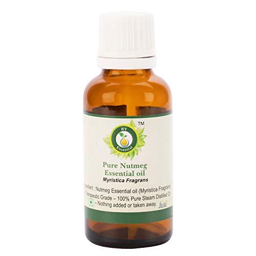 R V Essential Reines Muskatnuss Ätherische Öl 15ml (0.507 Unzen) - Myristica Fragrans (100% reiner und natürlicher Dampf destilliert) Pure Nutmeg Essential Oil