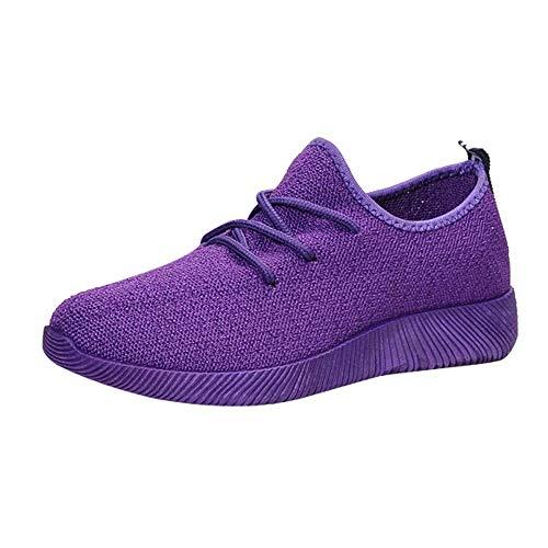 Zapatillas de Mujer Deporte Planas de Malla Transpirable Zapatos Casuales de Zapatos al Aire Libre para Estudiante Slip Casual en Suelas Cómodas Running Deportivos Yvelands(Púrpura,41)
