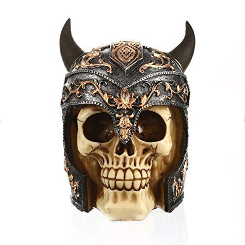 ZWSHOP Tote Skelett Figur, Harz Schädel Ornament trägt einen Wikinger Helm, menschlicher Schädel Dekor Kopf Modell, 5,9 Zoll Halloween Deko
