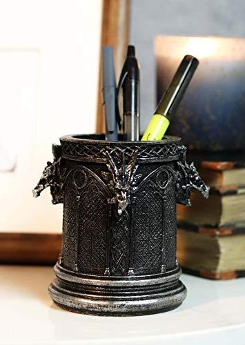 Ebros Medieval Fantasy Celtic Knotwork Dragon Monument Stationery Holder Statue Gothic Dungeons And Dragons Themed Organizer Office Desktop Pen Pencil Make Up Brush Vanity Holder Figurine