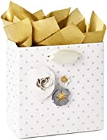 "Hallmark Signature 5"" Small Gift Bag with Tissue Paper (Paper Flowers; Grey, White, Gold) for Weddings, Mother's Day,..."
