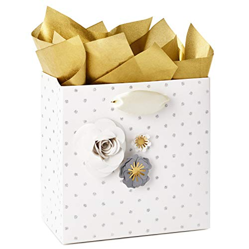 Hallmark Signature 5' Small Gift Bag with Tissue Paper (Paper Flowers; Grey, White, Gold) for Weddings, Mother's Day, Birthdays, Bridal Showers, Engagements, Anniversaries and More