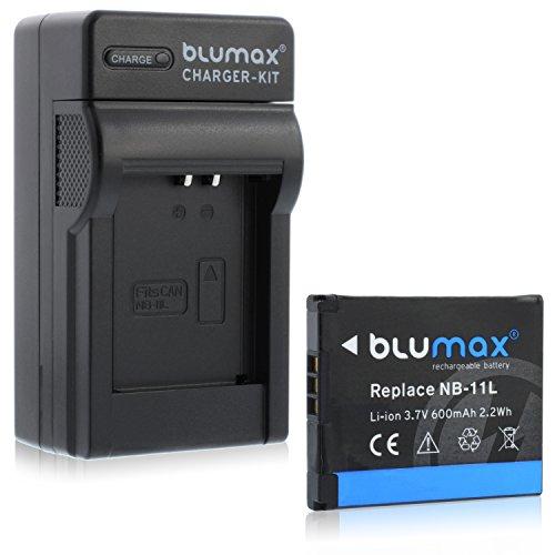 Blumax NB-11L 600mAh + Ladegerät NB-11L | passend zu Ixus 170 / Ixus 165 / Ixus 160 / SX410 / Ixus 275 / SX400 IS / SX410 IS / SX420 IS / A4000 / A3400 / A3500 / A2600 / A2400 / A2500 / A2300 / Ixus 265 / Ixus 145 / Ixus 150 / SX400 / Ixus 155 / Ixus 140