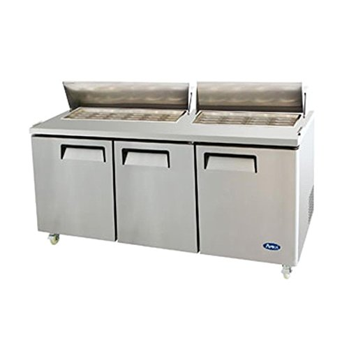 Atosa USA MSF8308 Stainless Steel Mega Top Sandwich/Salad Prep Table 72-Inch Three Door Refrigerator