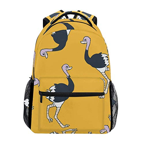 poiuytrew Happy Ostrich Pattern Backpack Students Shoulder Bags Travel Bag College School Backpacks