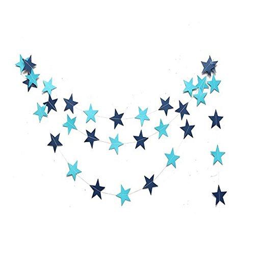Da.Wa Stern Muster Girlande Hänger Sternkette Weihnachten Verzierung Deko (4M,Blau,Set of 1)