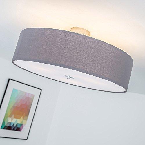 Lightbox Deckenleuchte 3 flammig, Deckenlampe mit Textilschirm, Ø 60 cm, E27 Fassung für max. 60 Watt Leuchtmittel, Metall/Textil - Grau/Chrom