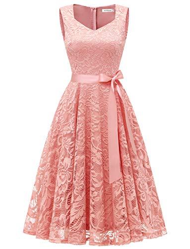 Gardenwed Damen Elegant Spitzenkleid Strech Herzform Abendkleid Cocktailkleider Partykleider Blush S
