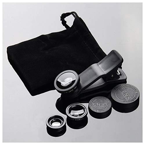 JohnJohnsen Kit de Lente de cámara para teléfono móvil Lente de Ojo de pez Lente Macro 2 en 1 y Lente súper Gran Angular con Clip Universal Negro para teléfono