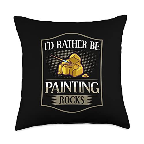 Rock Painting Stone Artist Painter Ideas Throw Pillow, 18x18, Multicolor