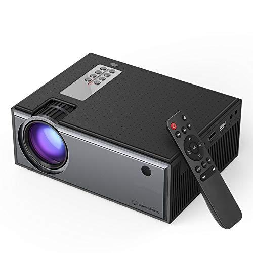 Tragbarer Projektor LCD-Projektor 2800 Lumen Telefon Gleicher Bildschirm 1080P Eingang Audio Drahtloser Smart-Heimkino-Projektor Schwarz