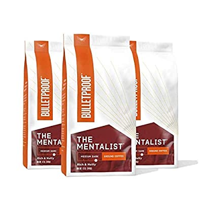 The Mentalist Ground Coffee, Medium Dark Roast, 3 Pack - 12 Oz, Bulletproof Keto 100% Arabica Coffee, Certified Clean Coffee, Rainforest Alliance, Sourced from Guatemala, Colombia & Brazil