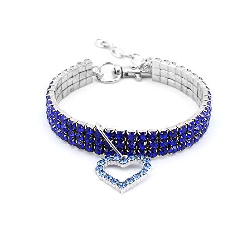 MoYouno Collar de Collar de Perro Brillante, Collar de Diamantes de imitación de Cristal de Gato para Mascotas con Collares elásticos Colgantes de corazón de Amor para Cachorros pequeños (Blue)