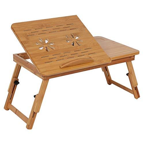 Cocoarm Tavolino da Letto di bambù Vassoio da Letto Pieghevole Piano Inclinabile Regolabile in Altezza Scolpito a cavità per Ventilazione per PC Porta